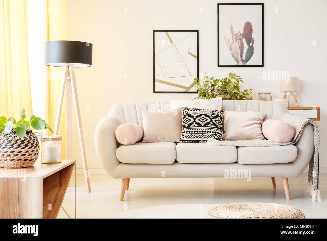 Patterned pillow on a beige couch next to lamp and plant on a ...