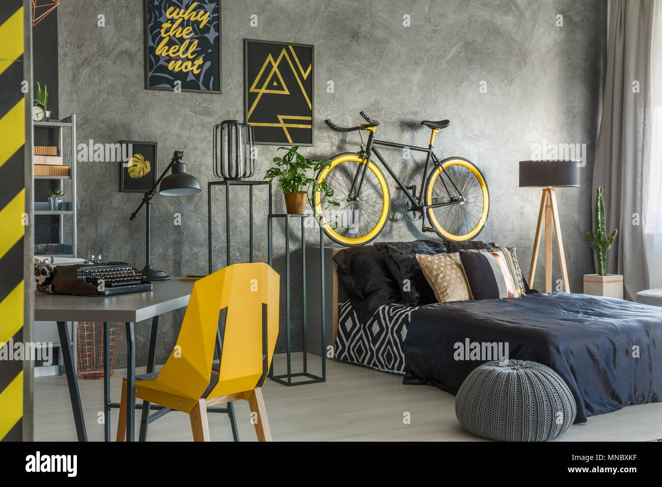 Hipster flat in grey with office and bedroom combined - Stock Image