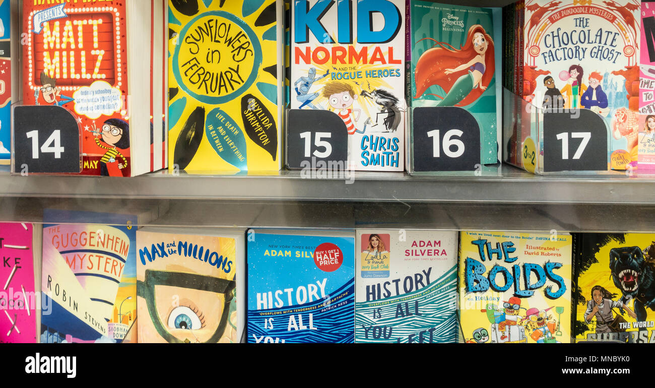 Childrens books in W H Smith shop. UK - Stock Image