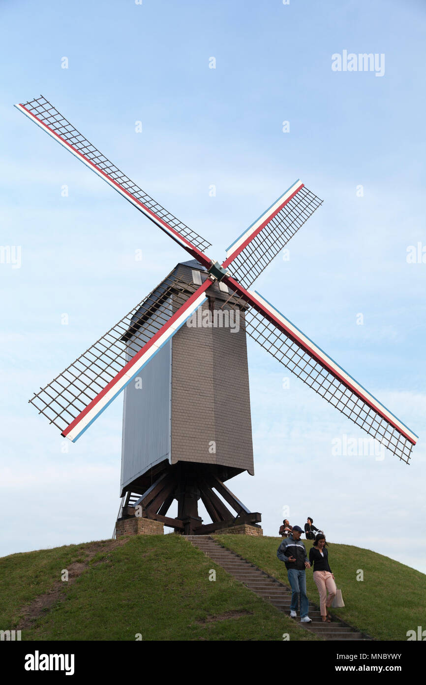 Belgium, Bruges, Wooden windmill named Sint-Janshuis (1770). Historic center of Bruges. - Stock Image