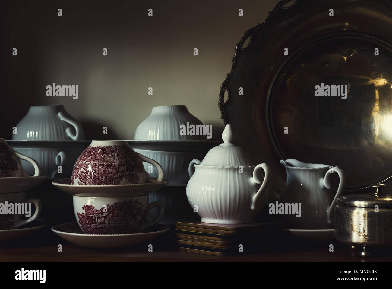 Cups and saucers - Stock Image
