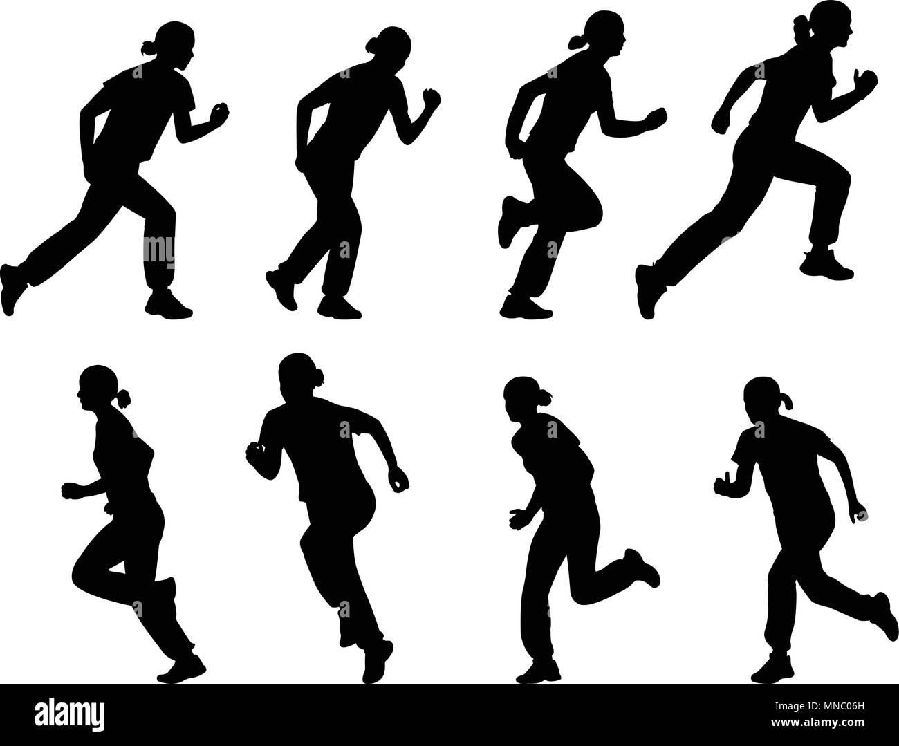 girl running silhouettes set  - vector - Stock Vector