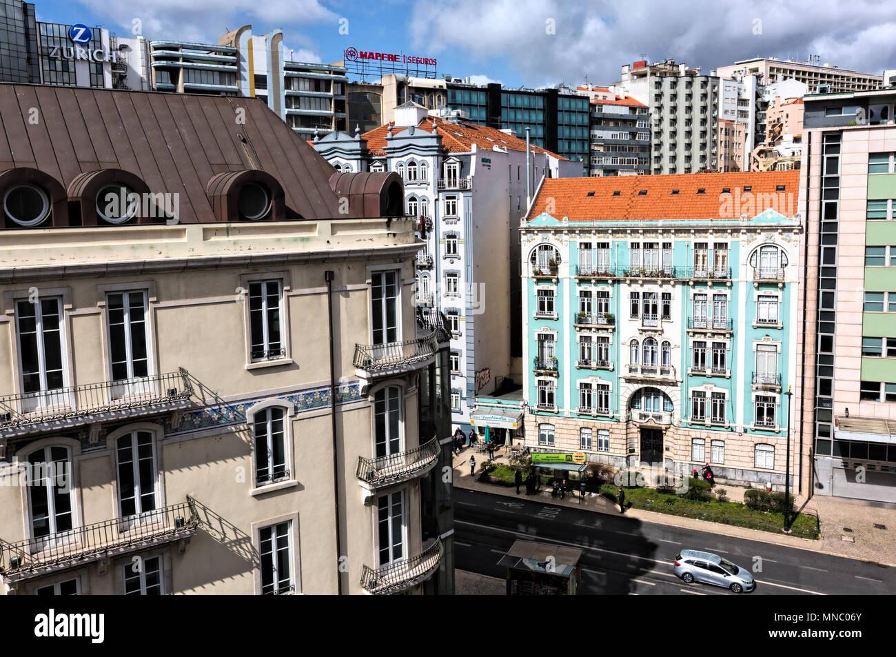View from Hotel PortoBay Marquês across Rua Braamcamp - Stock Image