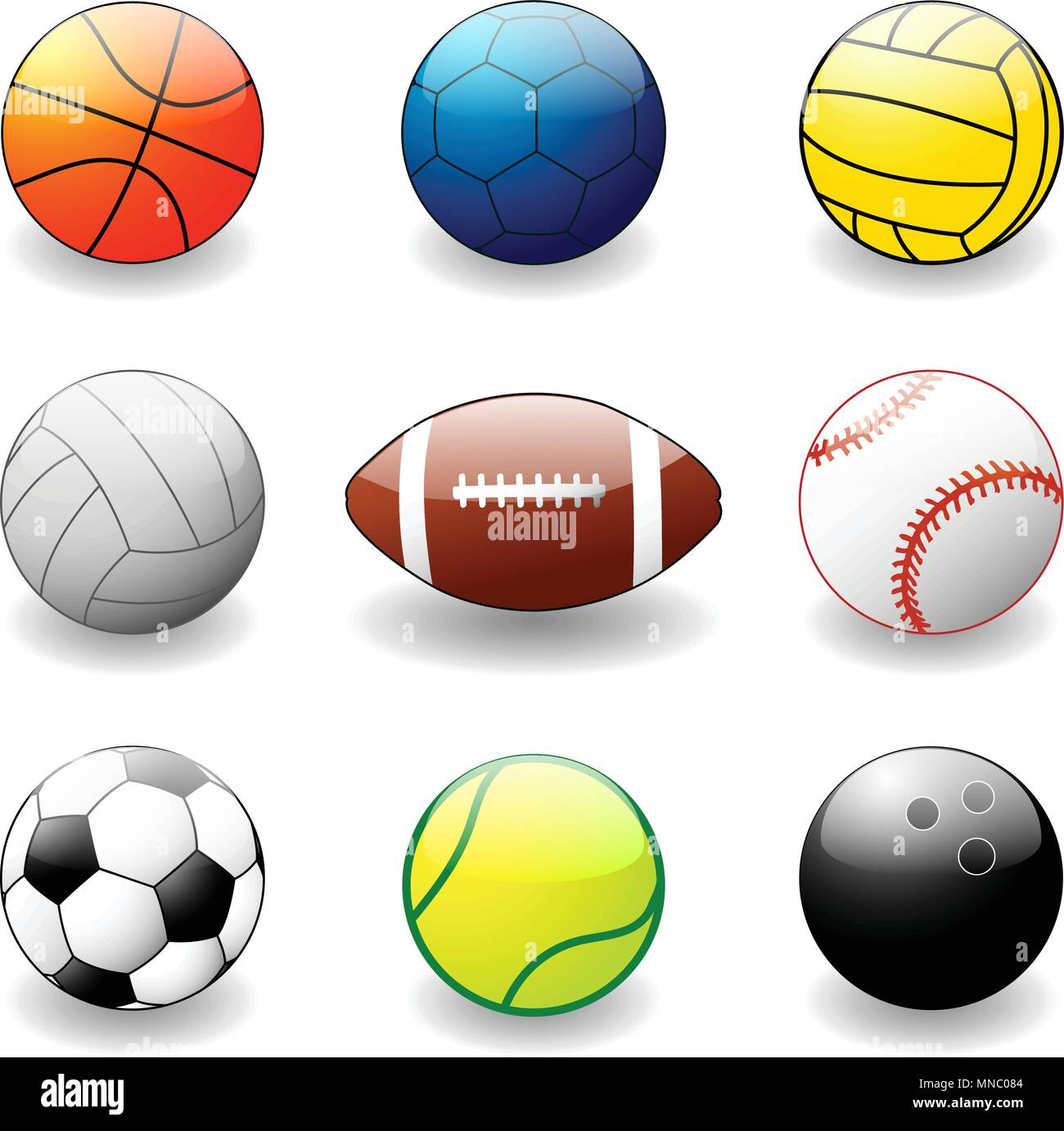 collection of sport balls - vector - Stock Vector