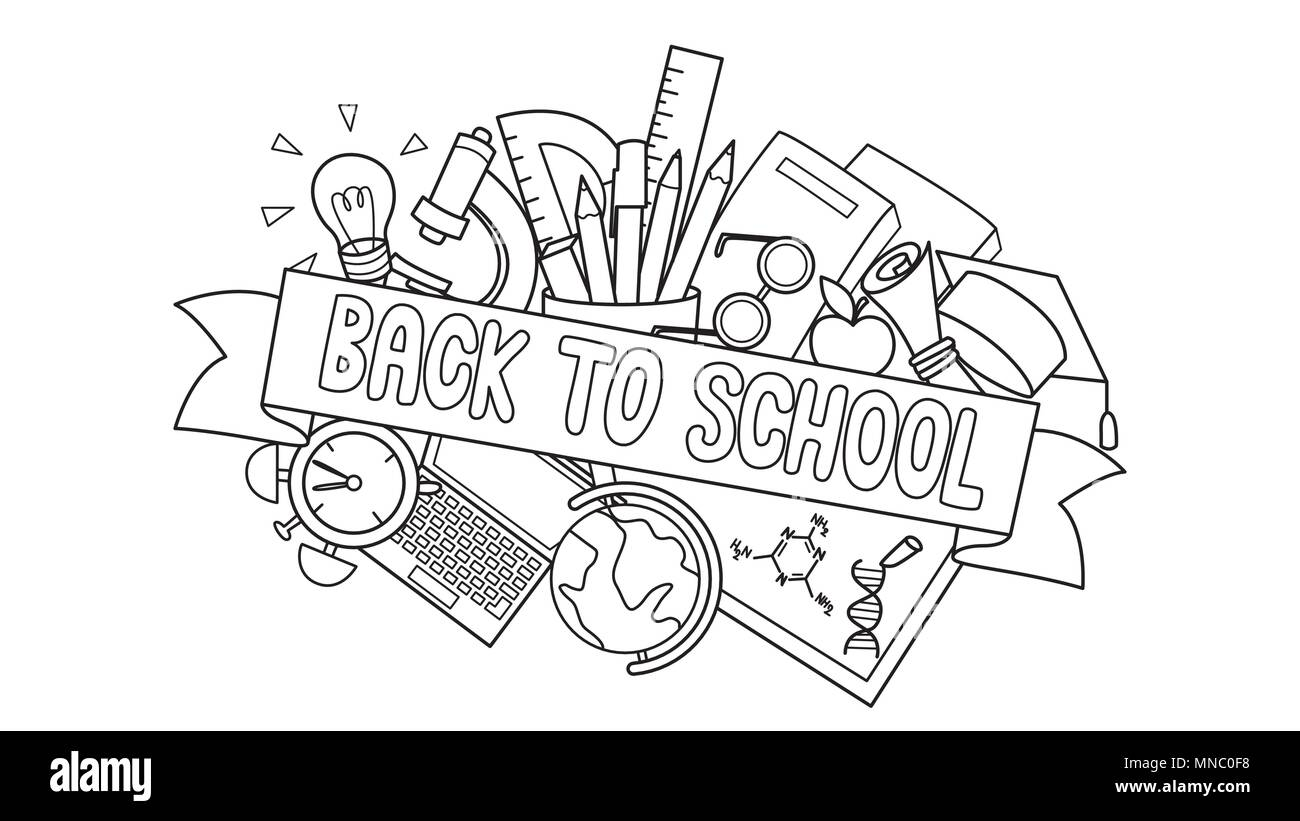 Doodle of student supplies with Back to School label in