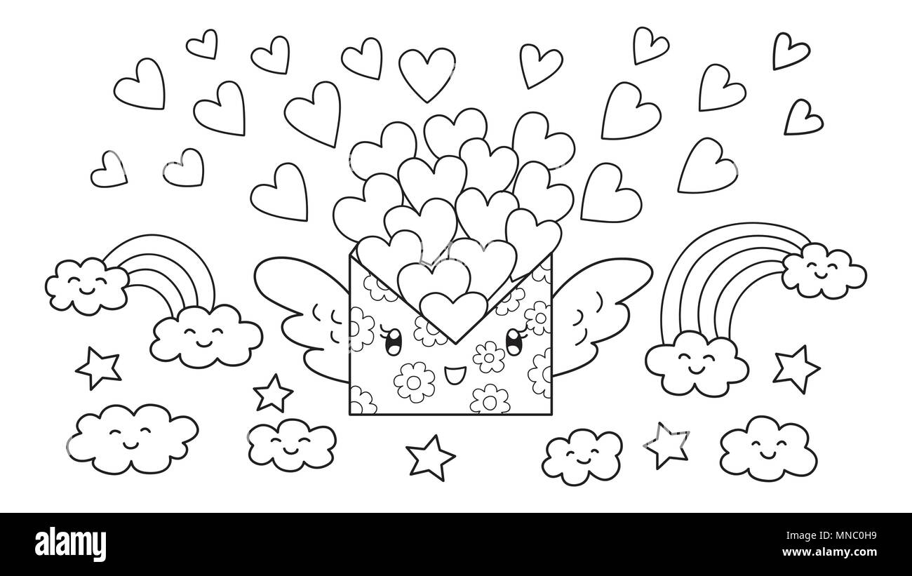 Hand drawn cute mail letter carrying lots of loves flying