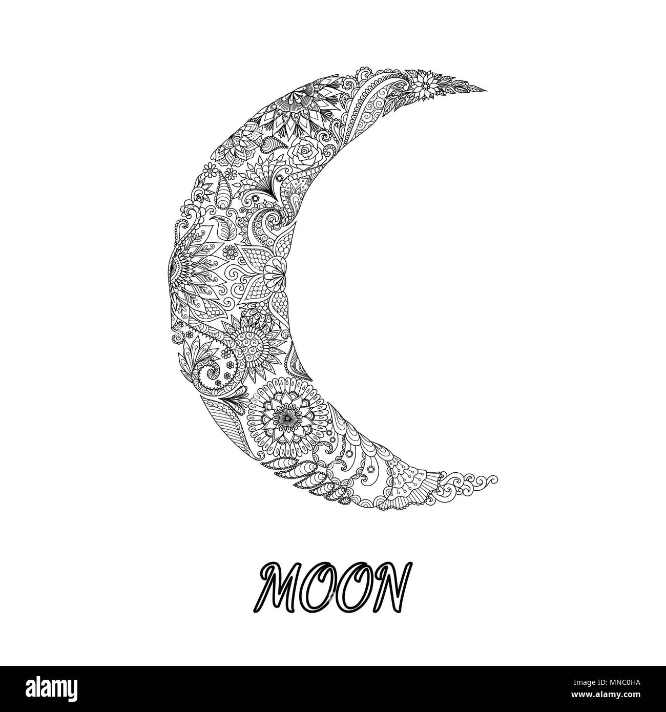 Line art design of moon sign in horoscope  Vector illustration Stock