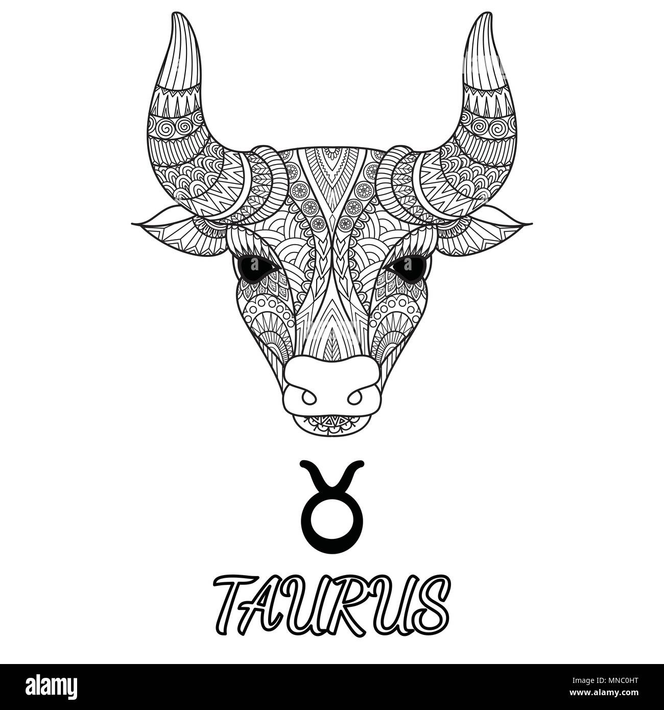 Zendoodle design of Taurus zodiac sign for design element and adult coloring book page. Vector illustration - Stock Image