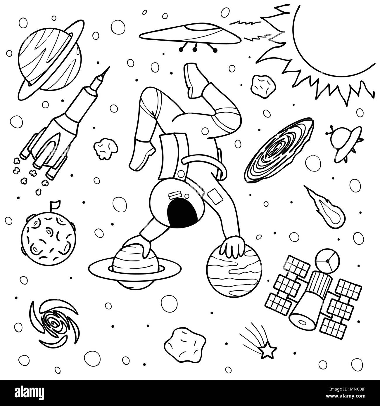 Funny Astronaut Doing Yoga On Planetsin Space Design For Printillustration And Coloring Book Page Kids Adult