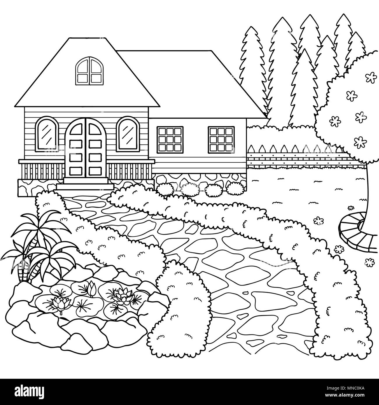 Hand drawn beautiful house and garden for design element and ...