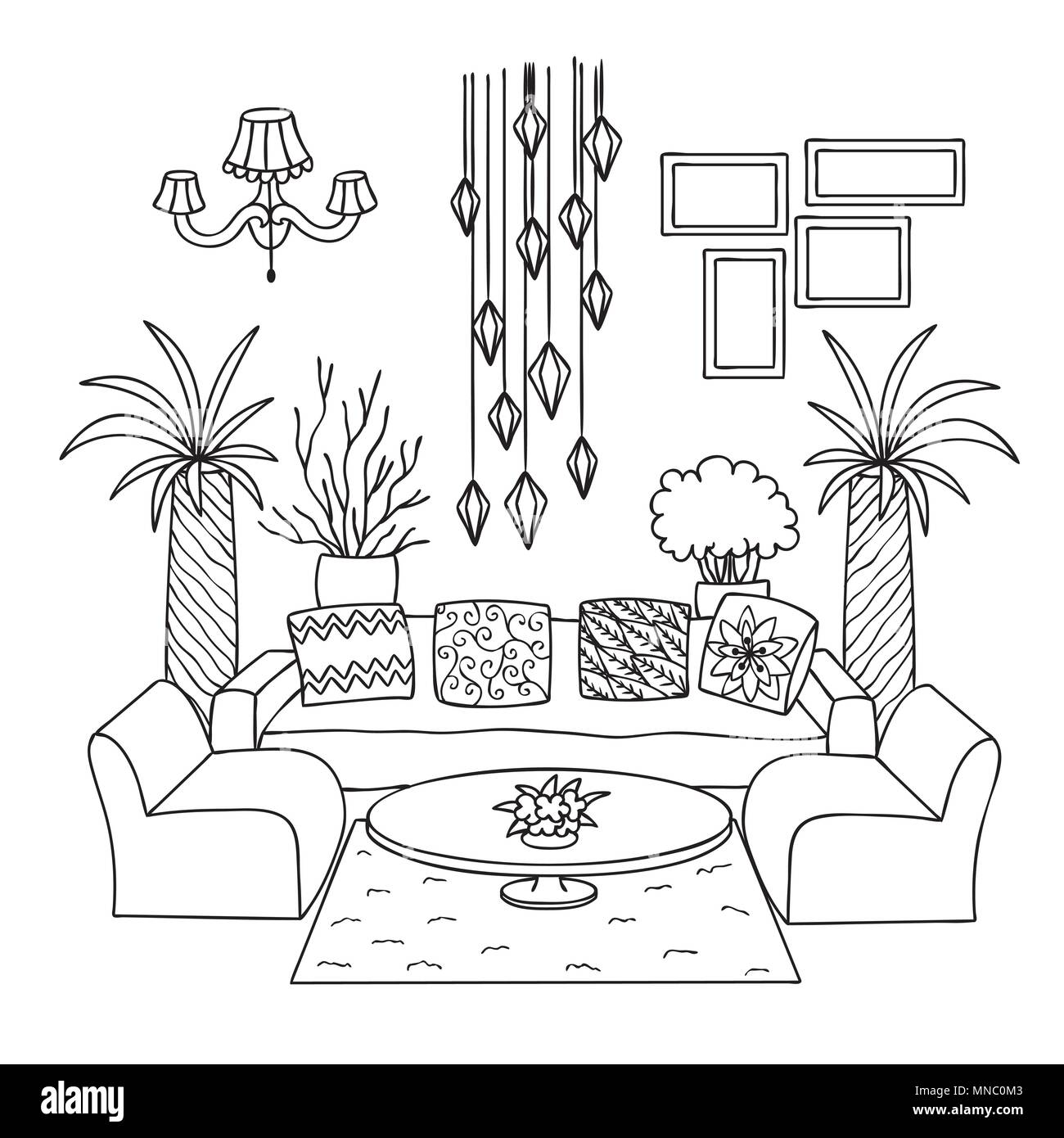 Hand drawn living room for design element and coloring book page. Vector illustration Stock Vector