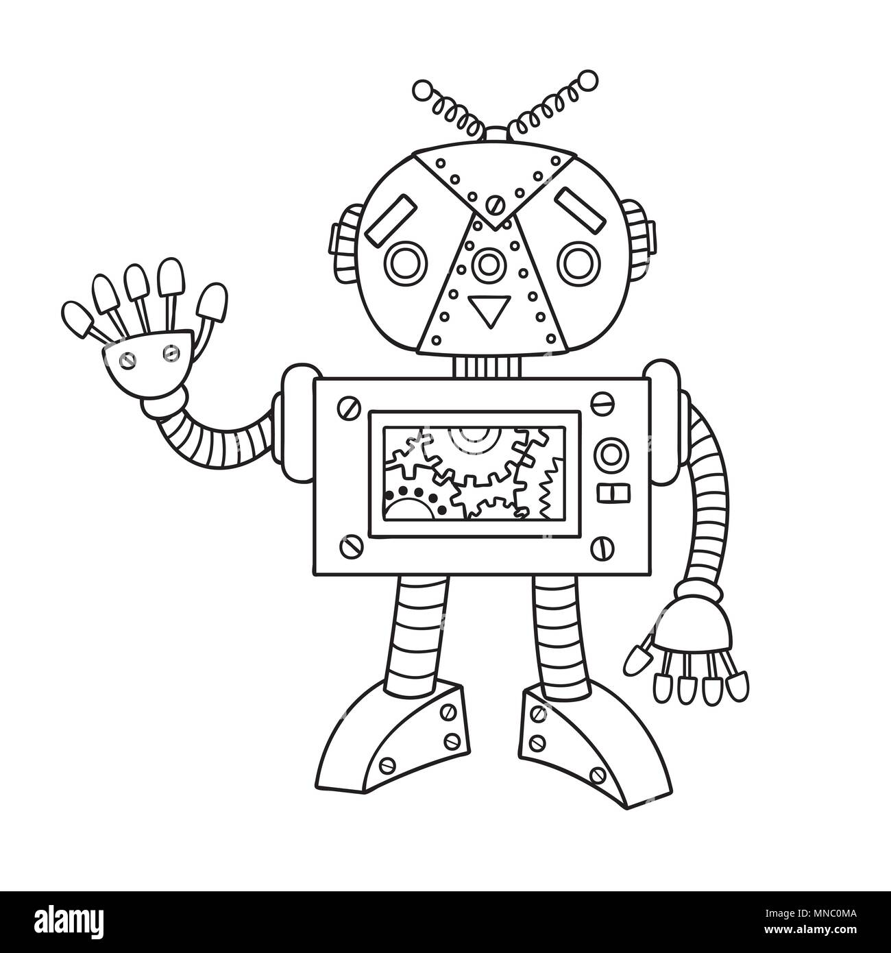 Hand drawn cute robot for design element and coloring book page for ...