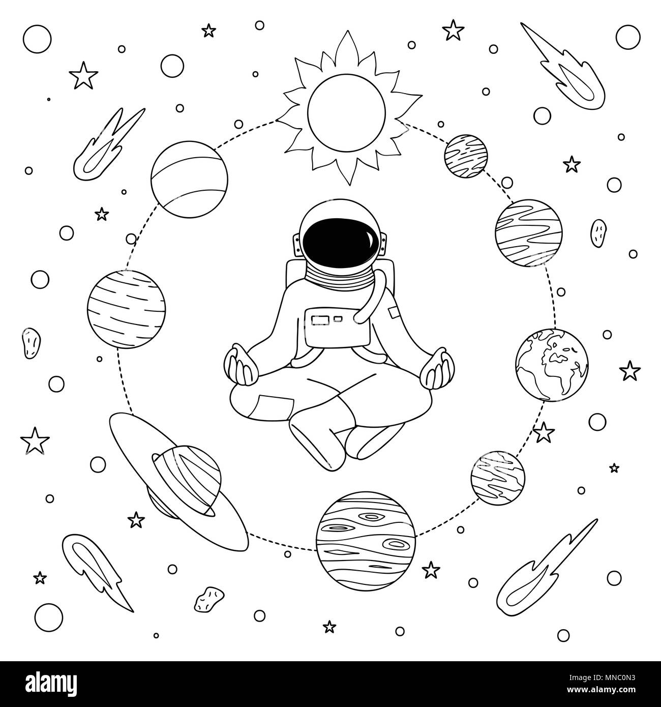 Hand drawn astronoaut doing meditation among solar system for design ...