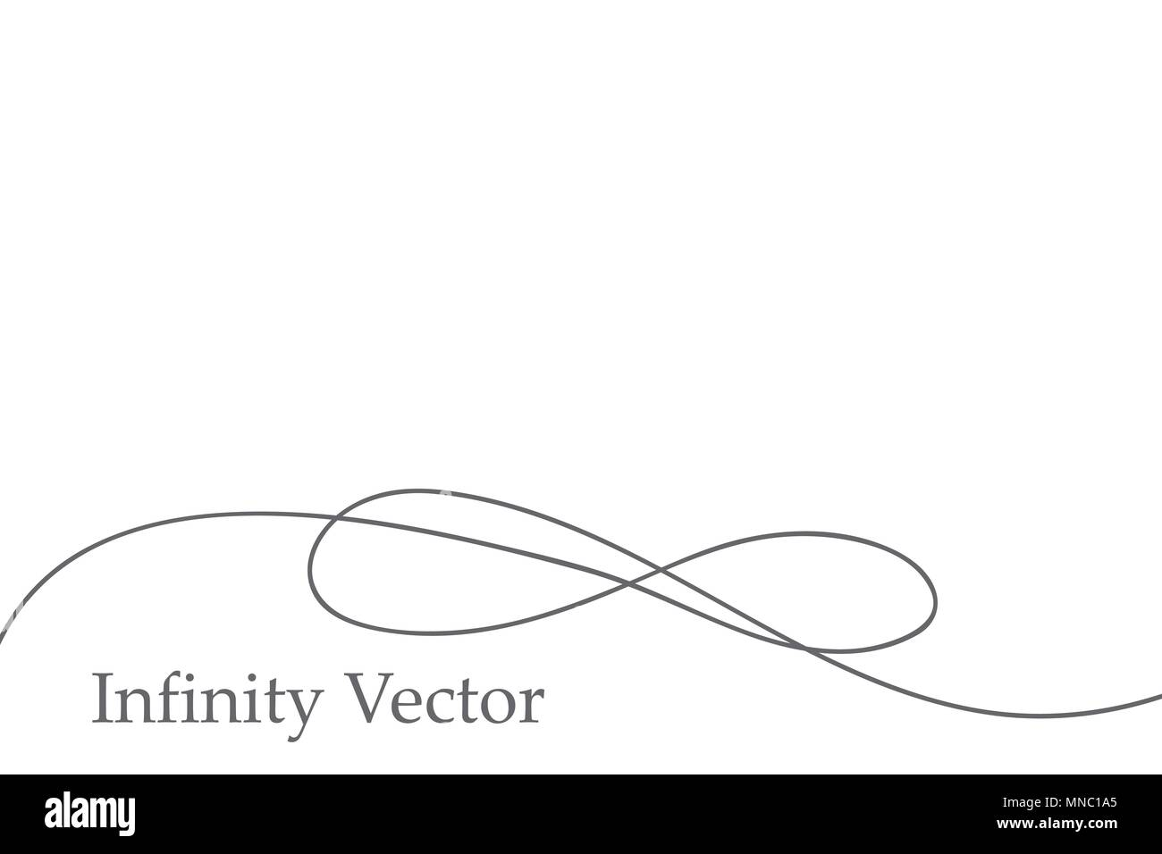 Infinity in solid lines of drawing. Continuous black line. Work flat design. The symbol of infinity of motion - Stock Image