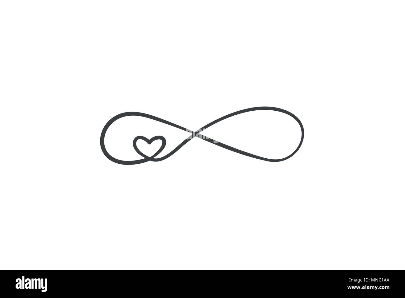 Sign Of Infinity And Heart Icon Element Of Wedding For Mobile