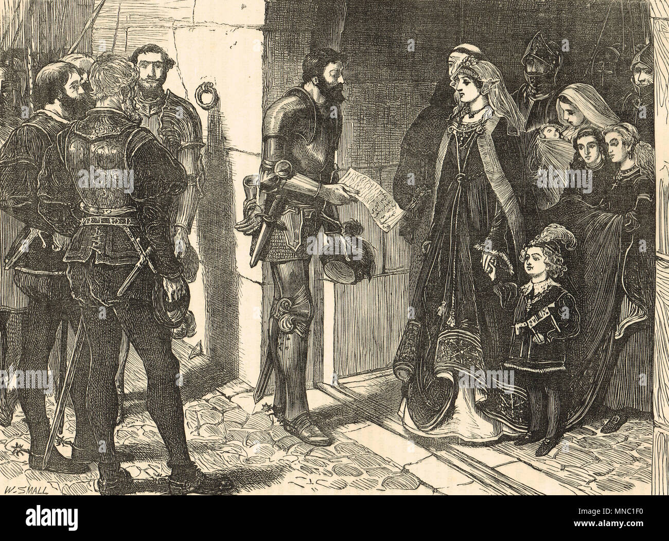 Margaret Tudor, regent of Scotland, refusing to surrender her children, Stirling Castle, 1515 - Stock Image