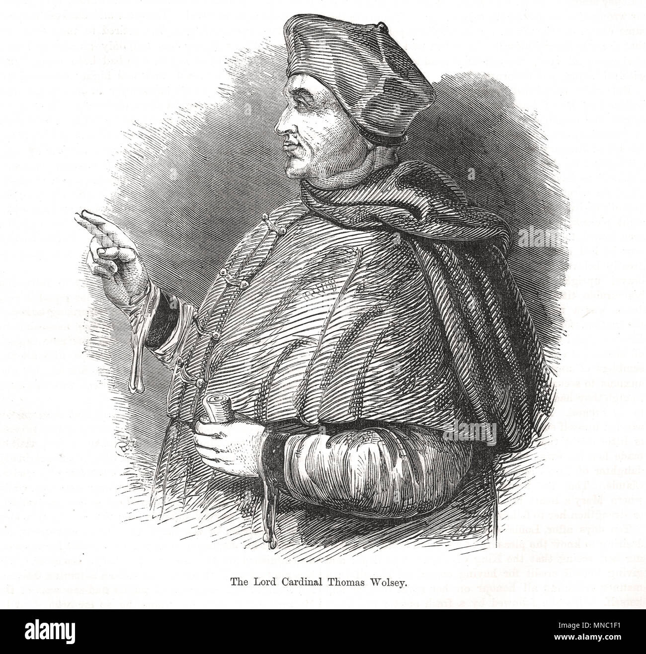 Thomas Wolsey, Lord Cardinal, giving a blessing - Stock Image