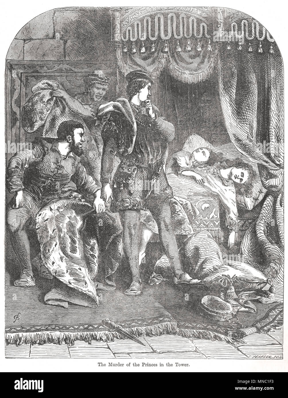Death of the two princes, Tower of London, 1483. The Princes in the Tower - Stock Image