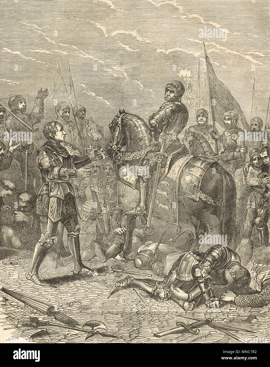 Battle of Bosworth Field, 22 August 1485, Lord William Stanley offering the crown of Richard III to Henry Tudor, second Earl of Richmond, later crowned King Henry VII - Stock Image