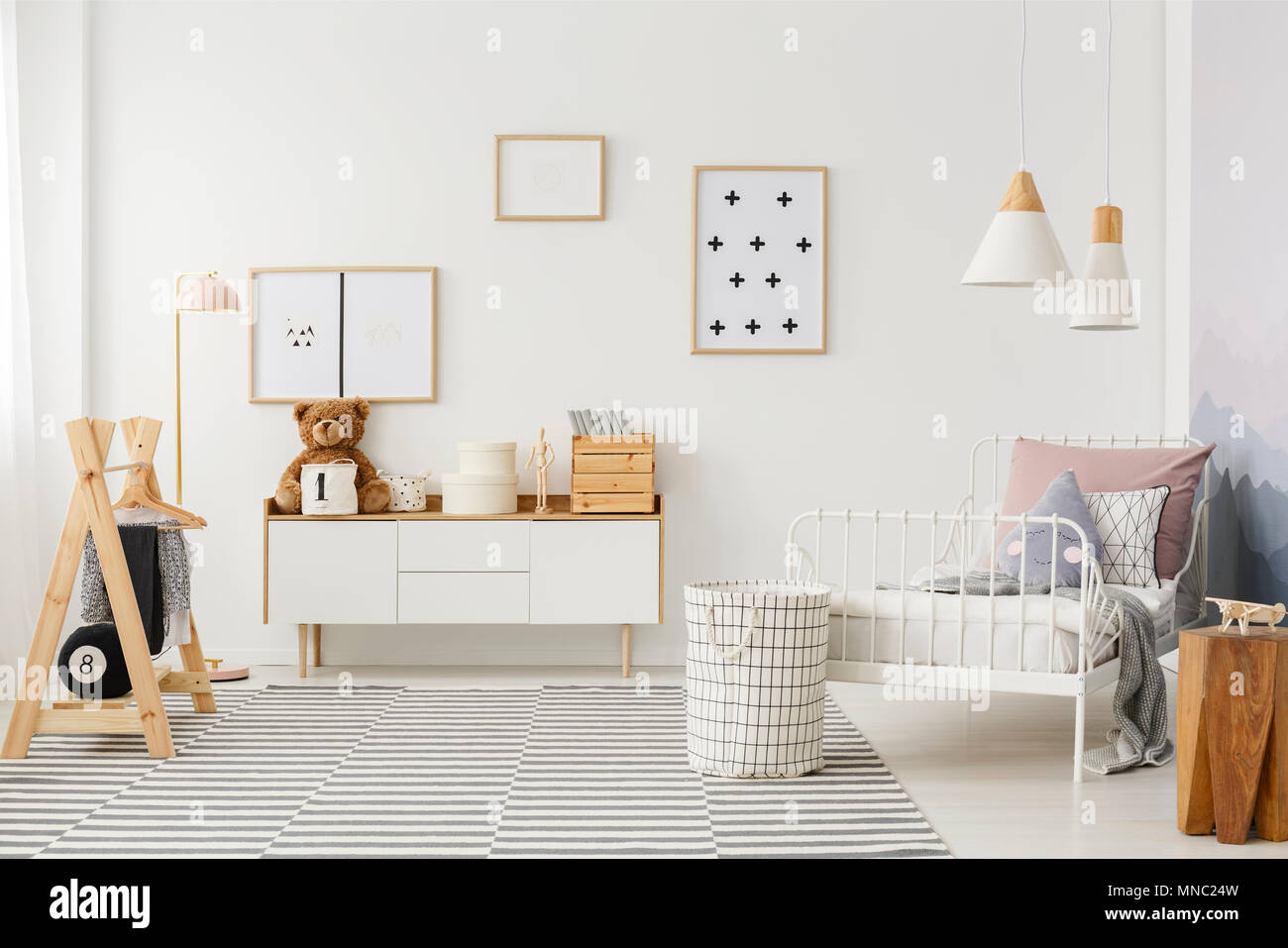 Wonderful Natural, Bright Kidu0027s Bedroom Interior With Wooden Furniture, Designer  Accessories And Posters On A