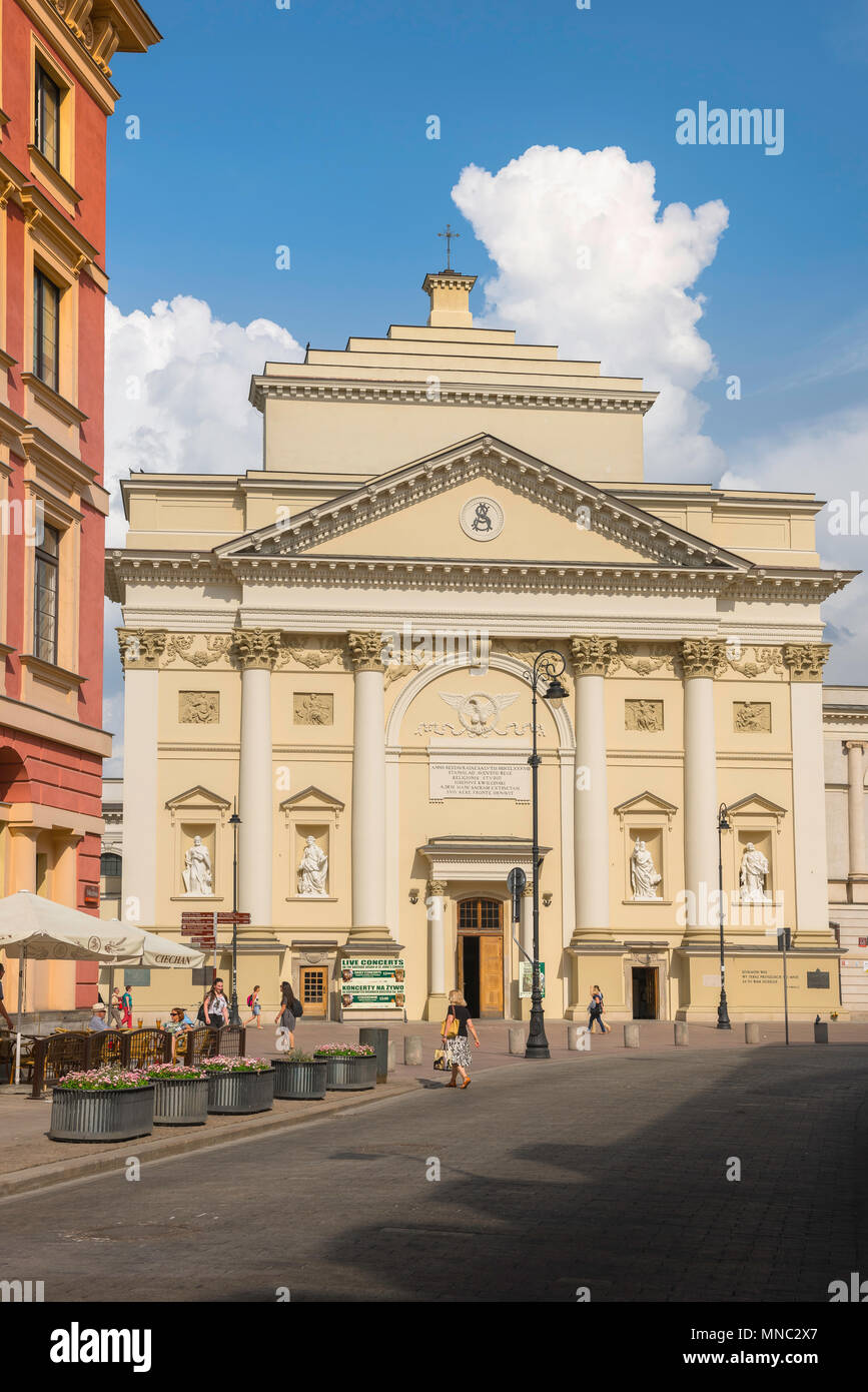 Warsaw church, view from Miodowa of the Baroque St Anne's Church in the Old Town quarter of Warsaw, Poland. - Stock Image