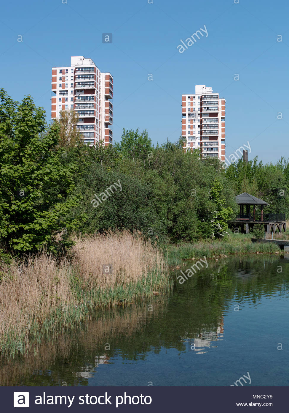 Tower blocks Regina Point and Columbia Point on the Canada Water Estate: London Stock Photo