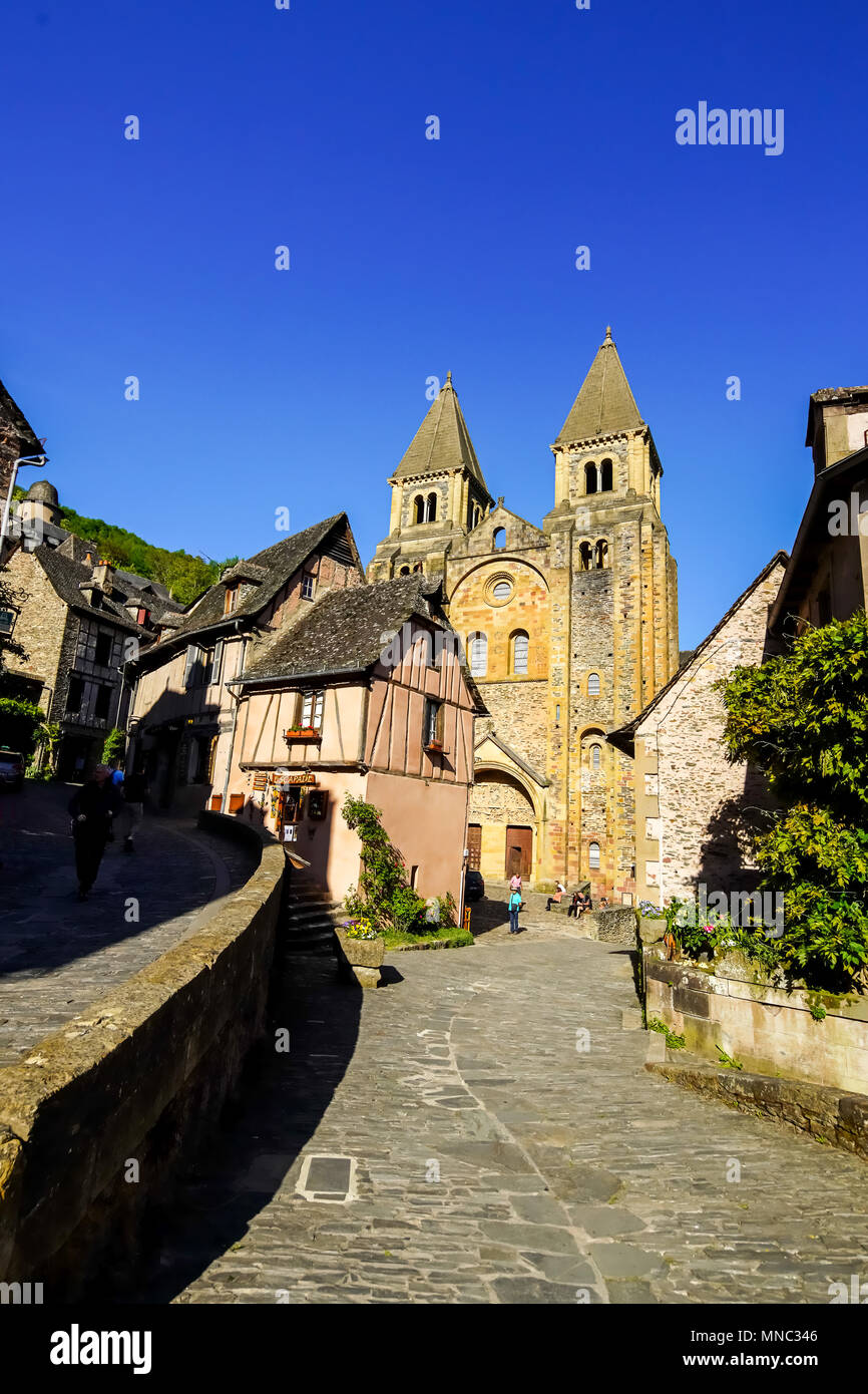 Beautiful hillside view of Conques, medieval village, Occitanie, France. - Stock Image