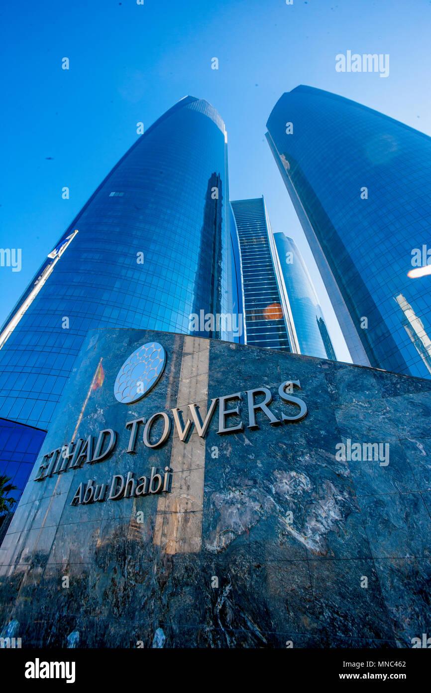 Etihad Towers in Abu Dhabi, United Arab Emirates - Stock Image