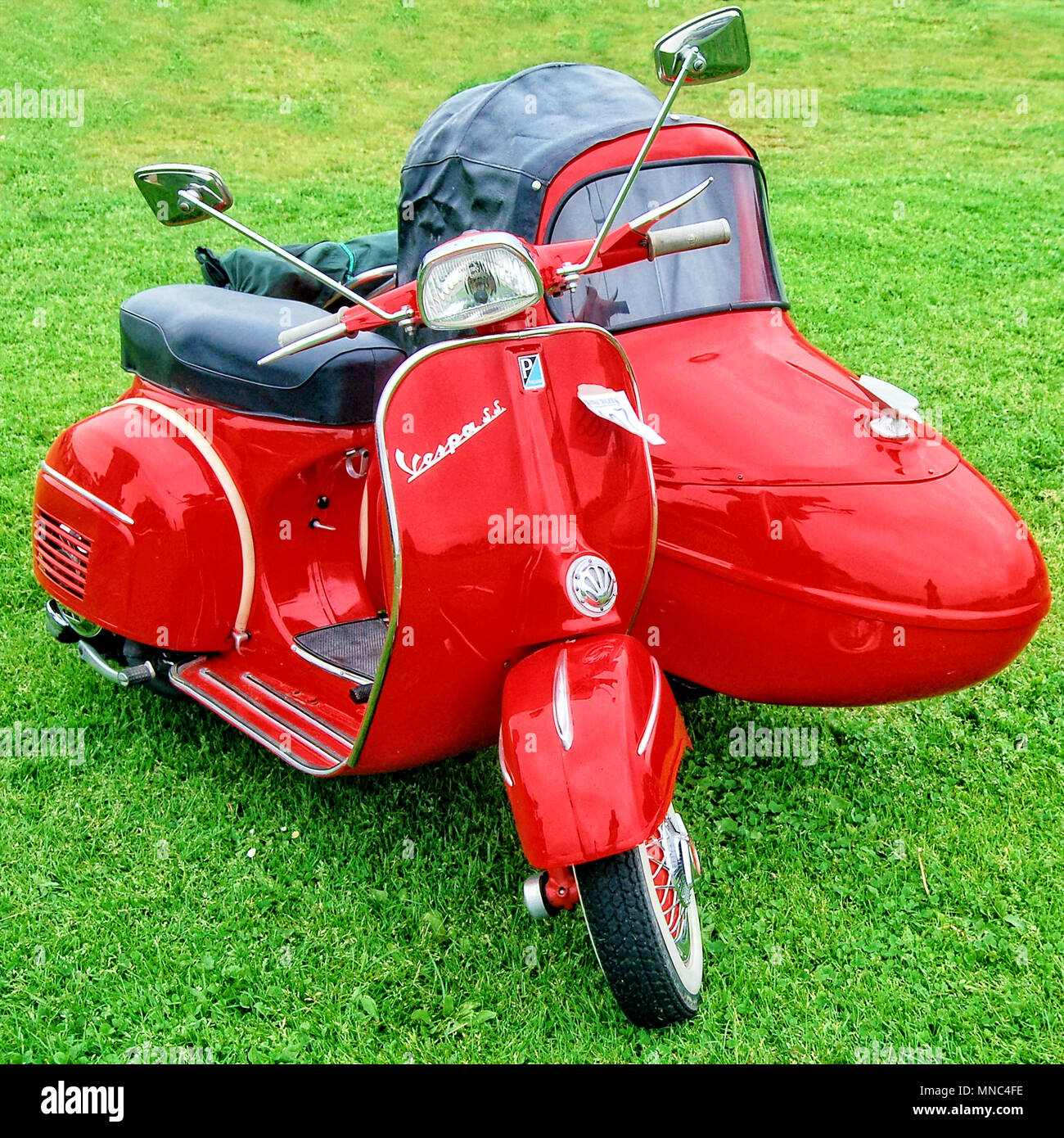 Vespa SS Motor Scooter and Matching Sidecar - Stock Image