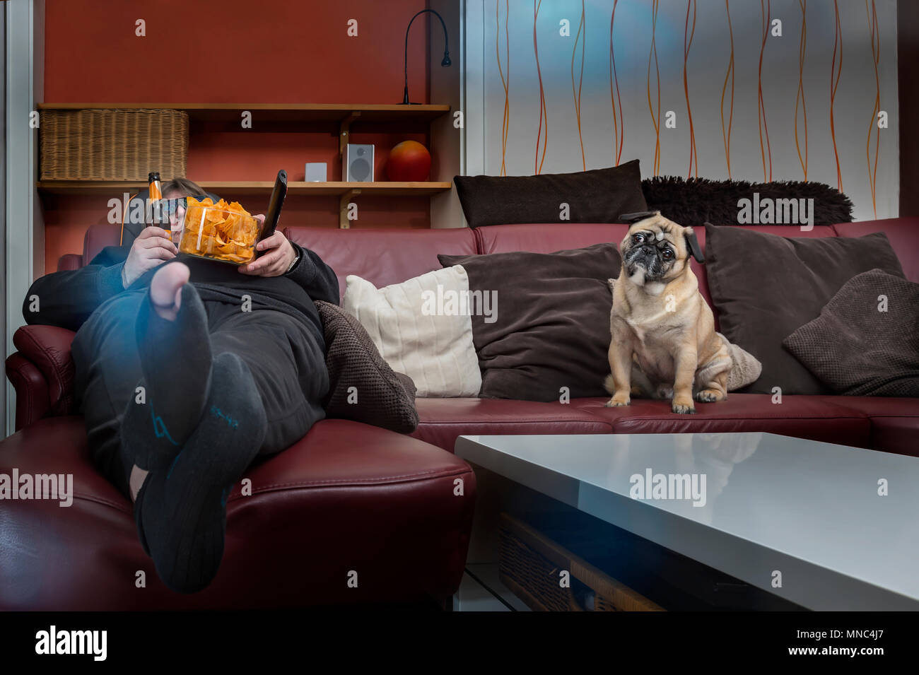A man eats chips in front of the TV. His dog is sitting next to him on the couch. The man has a hole in the stockings and a 3 D glasses put on. Frog p Stock Photo