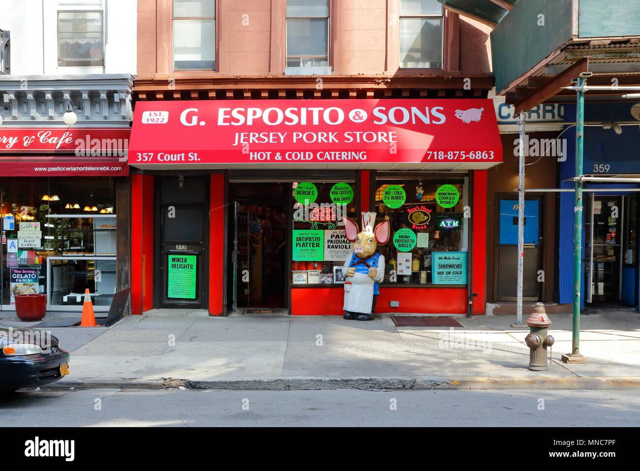 Esposito & Sons Pork Store, 357 Court St, Brooklyn, NY - Stock Image