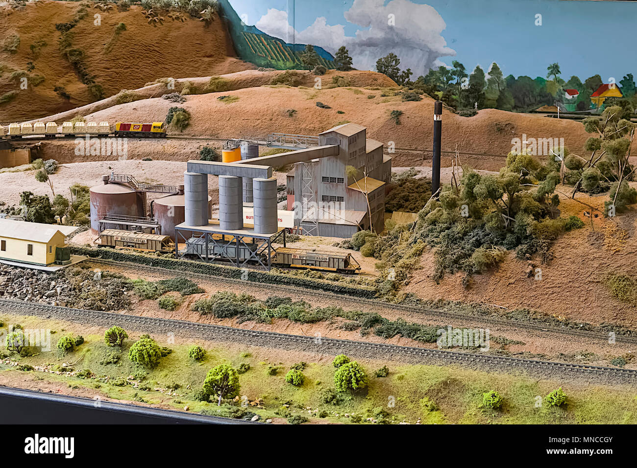 A small section of a huge model railway layout. Every detail is as authentis as possible and maintained by volunteers - Stock Image