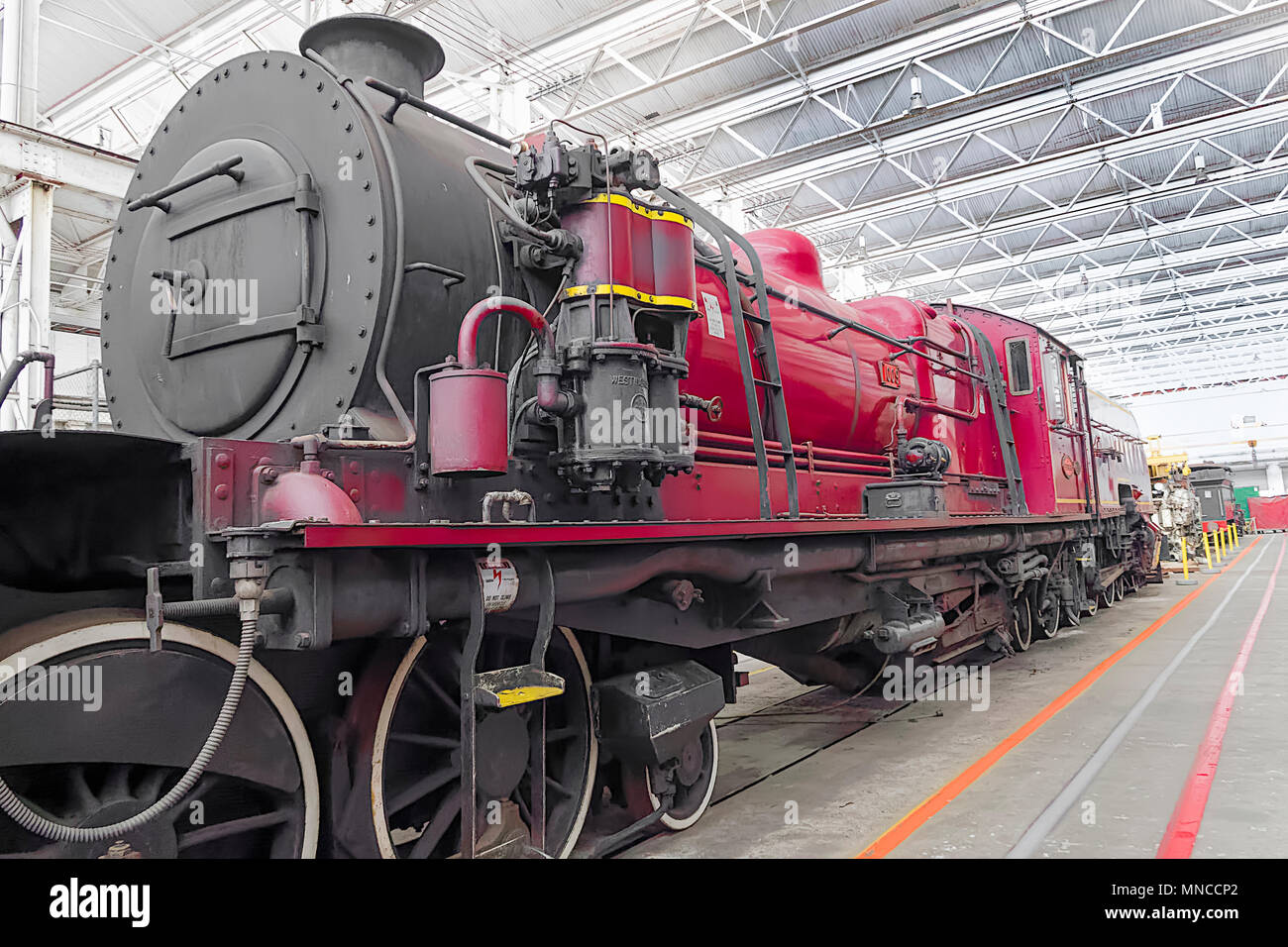 The railway workshops maintain many varieties of locomotives.  This steam engine is only one of many - Stock Image