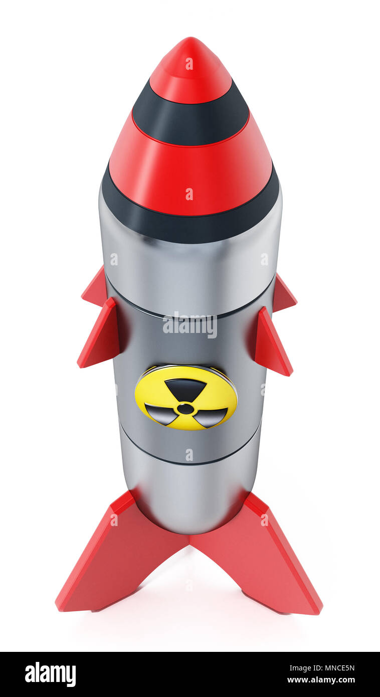 Nuclear missile isolated on white background. 3D illustration. - Stock Image