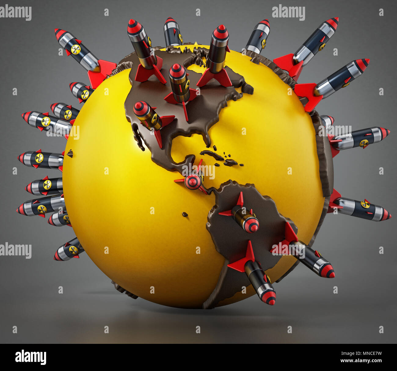 Nuclear missiles standing on world map. 3D illustration. - Stock Image