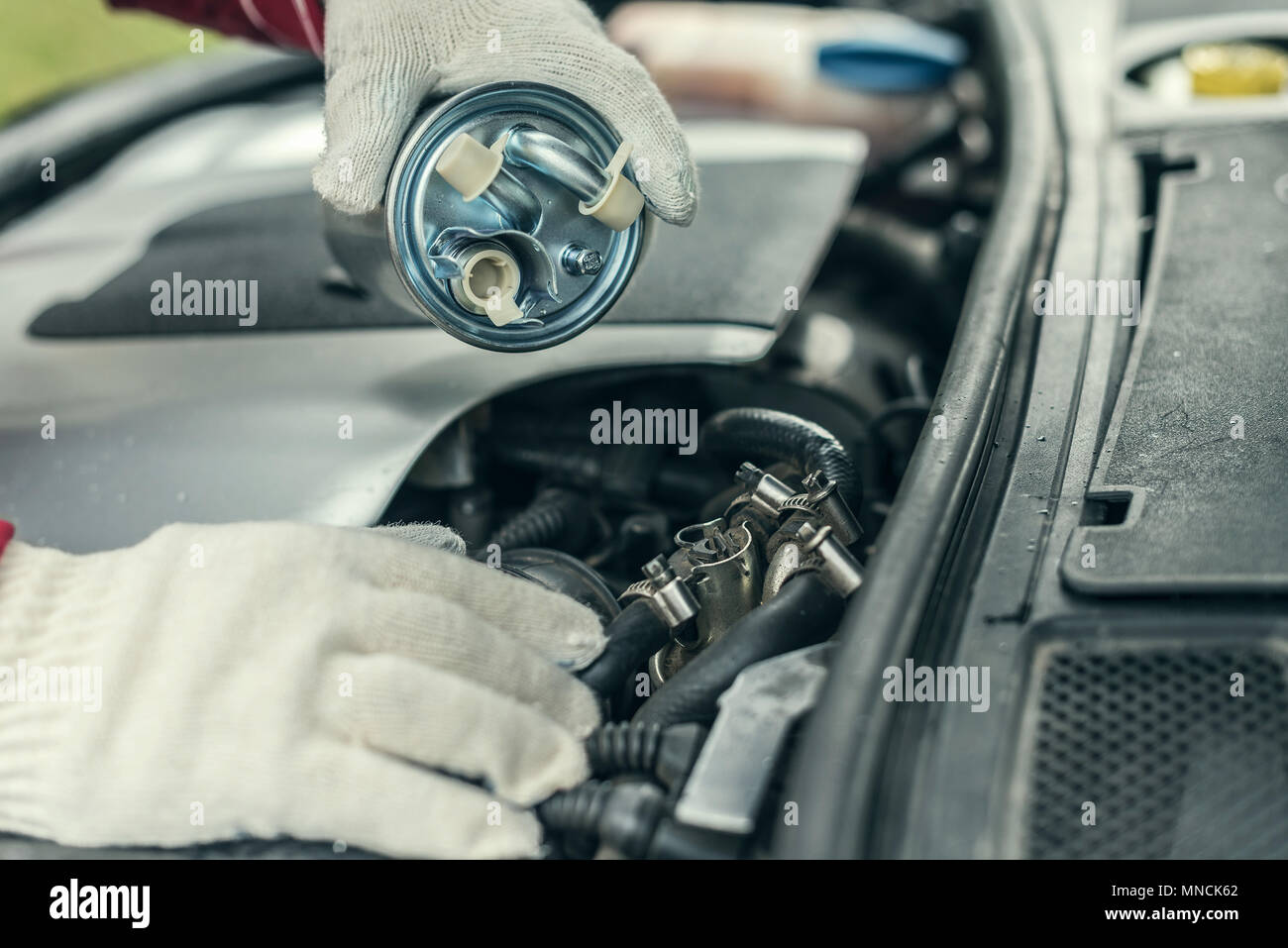 Fuel Filter Dirty Car Stock Photos Vehicle An Auto Mechanic Replaces A Cars Image