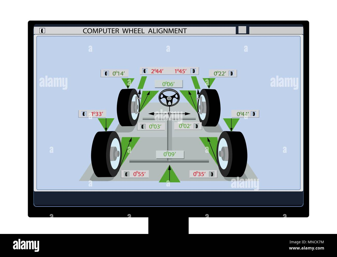 Car Service An Image Of A Schematic With Sensors On Wheels Computer Monitor Wheel Alignment Illustration
