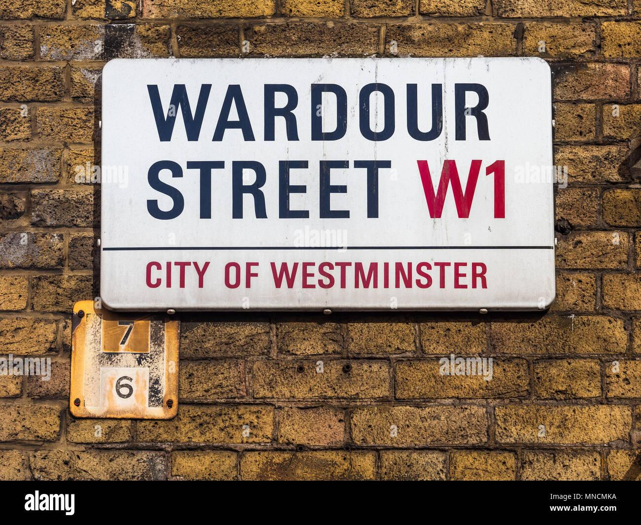 Soho Street Signs Series - Wardour Street - London's Soho district Street Signs - Stock Image