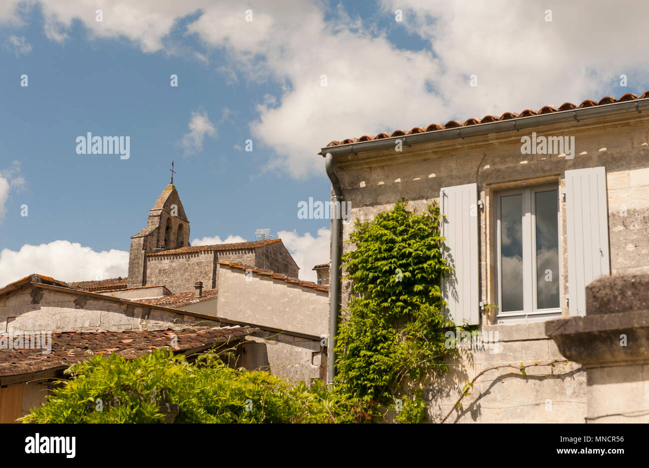 The parish church was erected on the highest point of Saint-Simon, Charente, France - Stock Image