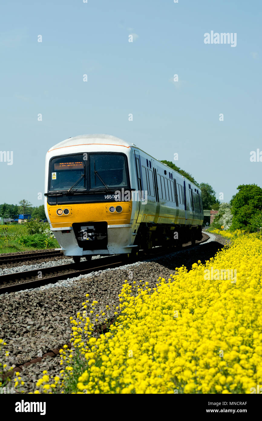 Chiltern Railways class 165 train near King`s Sutton, Northamptonshire, UK Stock Photo