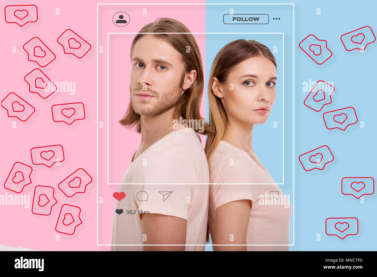 Portrait of charming couple waiting for likes in social network Stock Photo