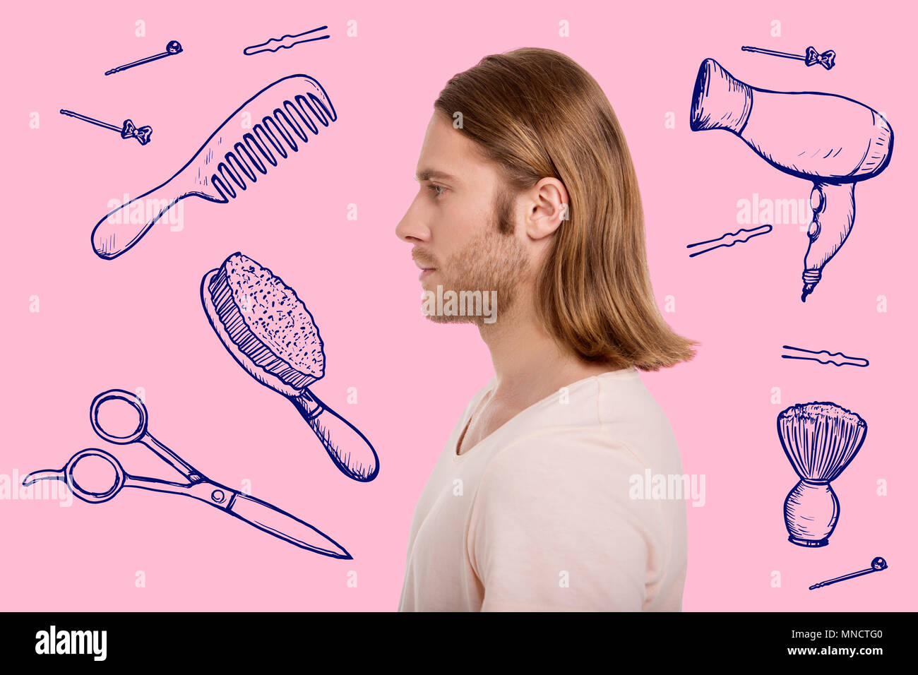 Profile of handsome man preparing for a date - Stock Image