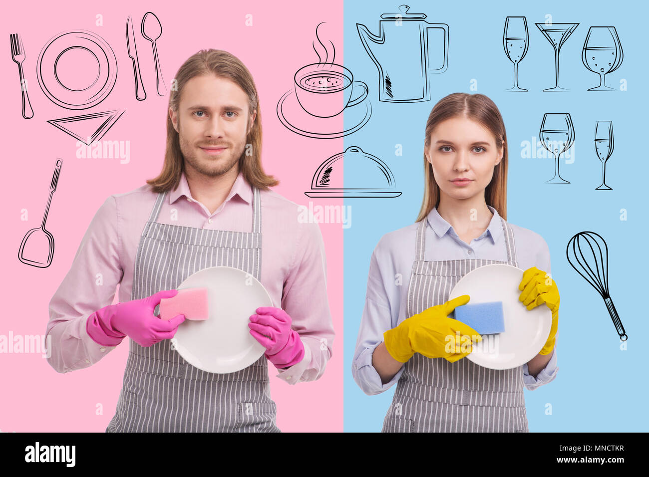 Portrait of positive waiters washing dishes - Stock Image
