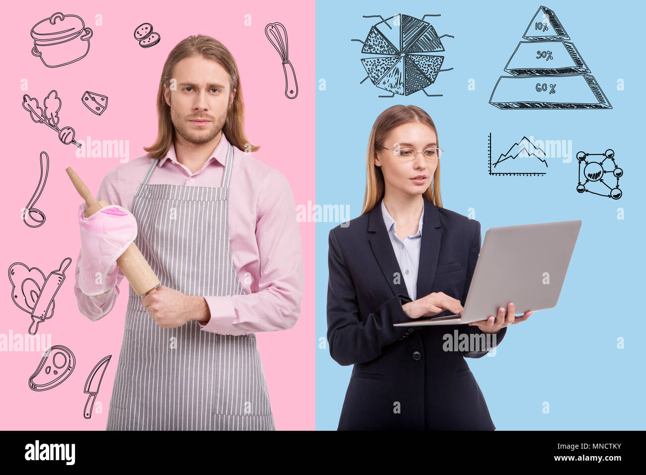 Waist up of businesswoman and housewife man - Stock Image