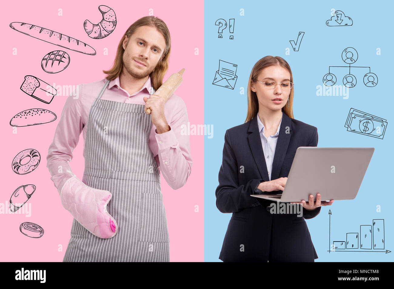 Waist up of ambitious woman and housewife man - Stock Image
