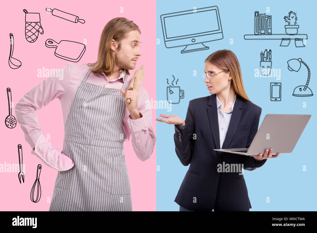 Displeased business woman feeling indignant about her husbands responsibilities - Stock Image