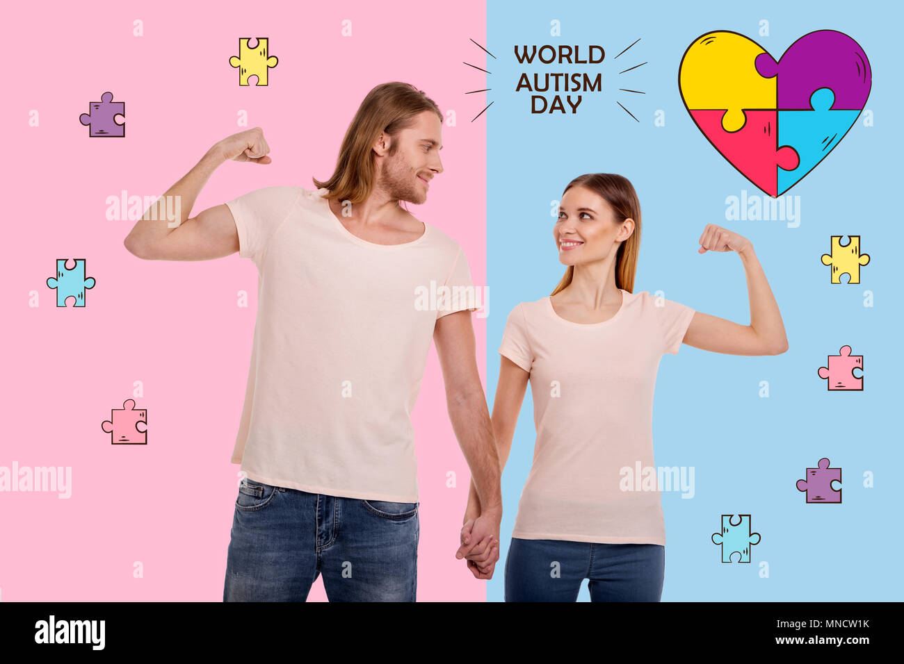 Cheerful parents looking confident on the World autism day - Stock Image