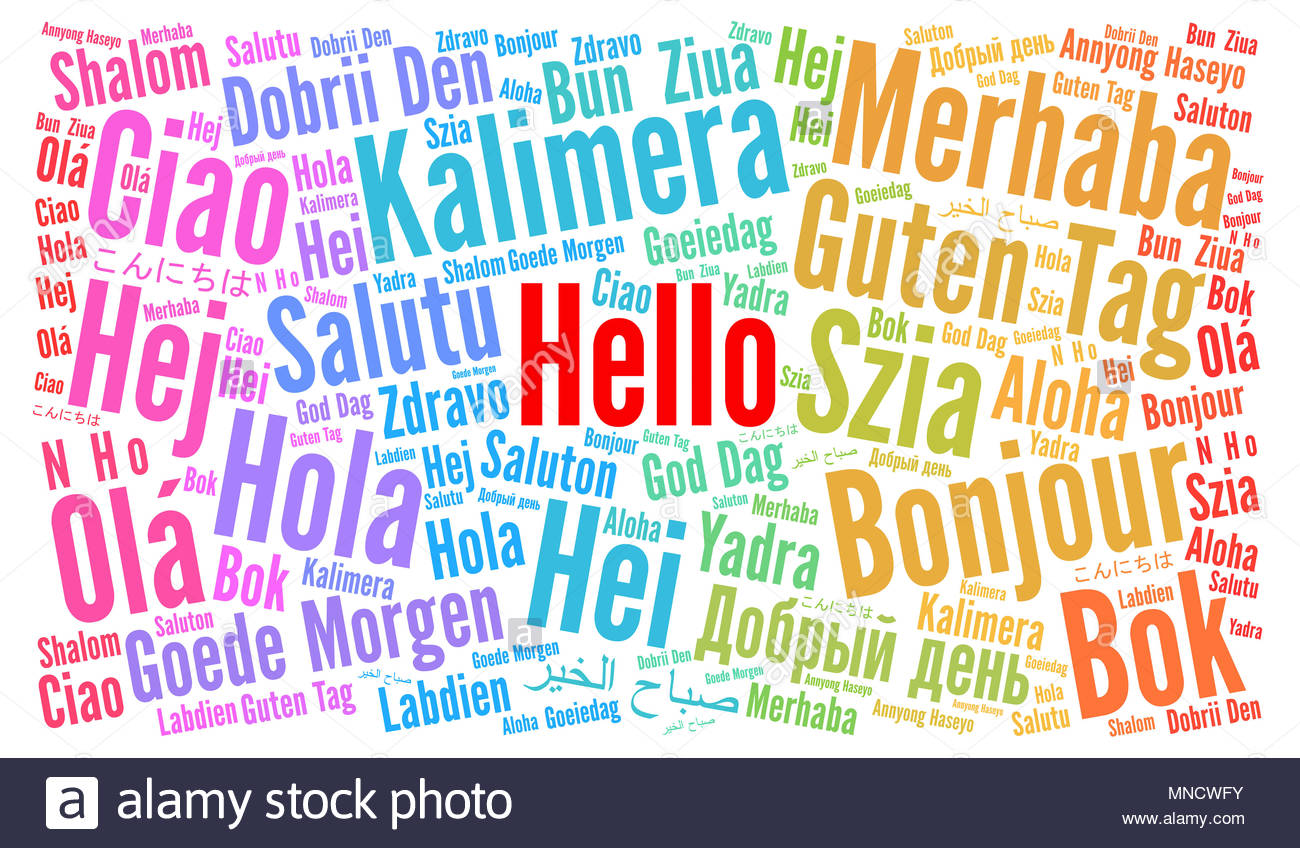 Hello In Different Languages Word Cloud Stock Photo 185294927 Alamy