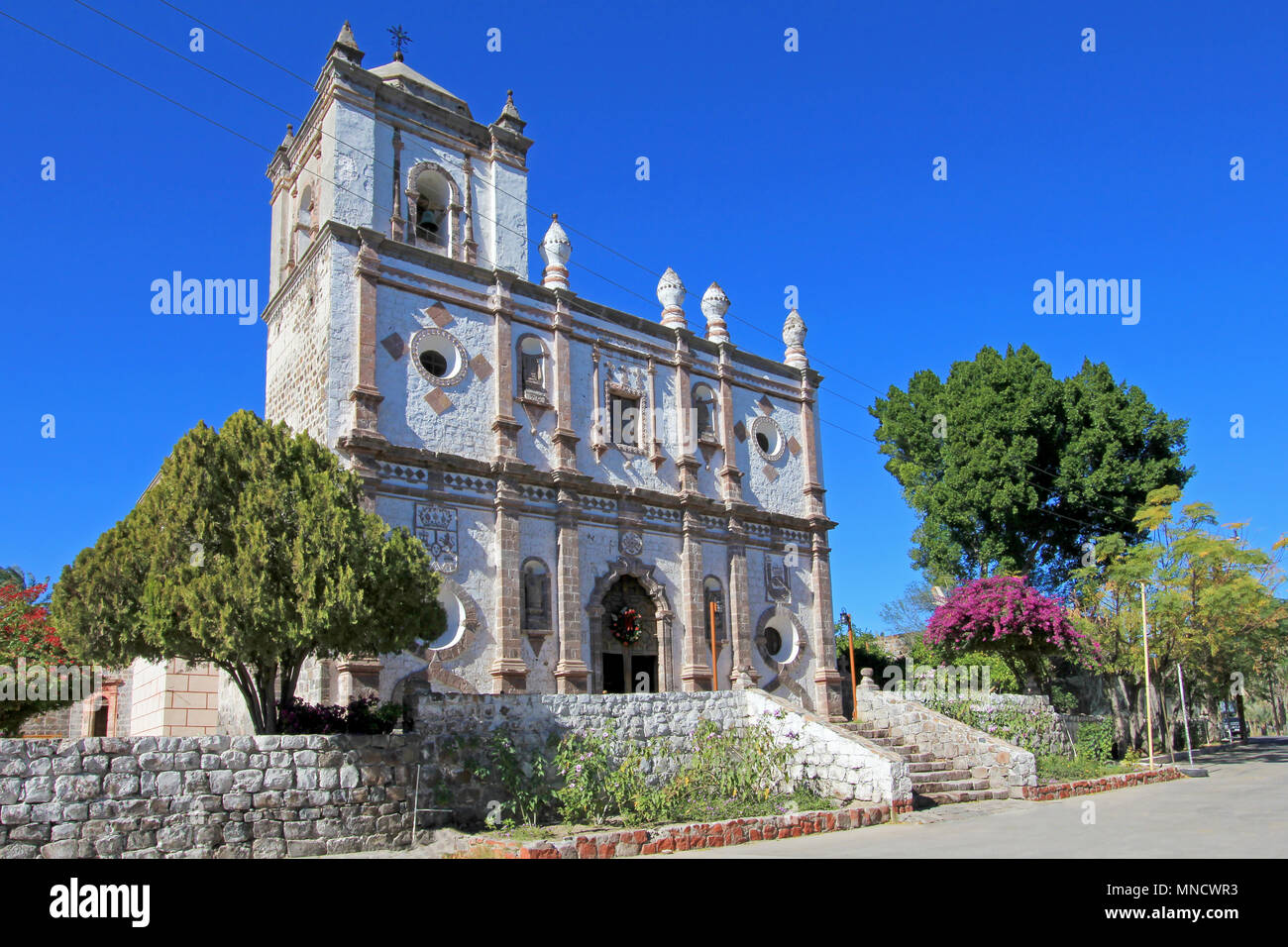 Old Franciscan church, Mision San Ignacio Kadakaaman, in San Ignacio, Baja California, Mexico - Stock Image