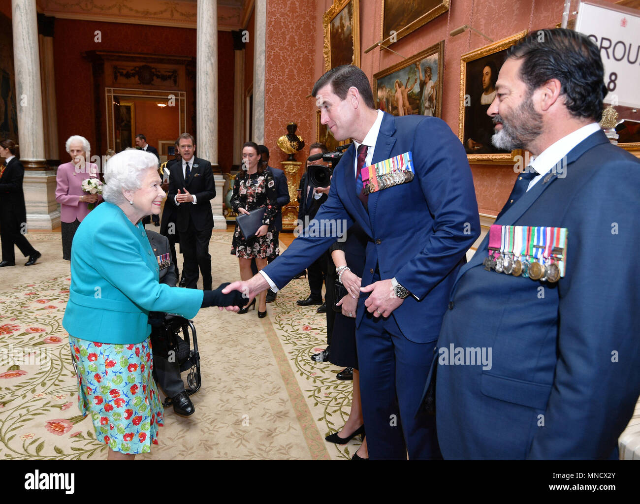 e40d091d99343d Queen Elizabeth II shakes hands with Mr Ben Roberts-Smith VC at a reception  for
